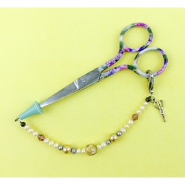 Sewing Scissors with Floral Handle and Handmade Chain + Chram