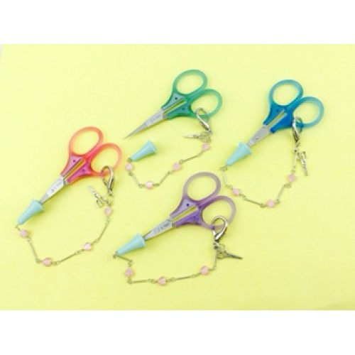 Embroidery Scissors with Rubber Tip & Chain