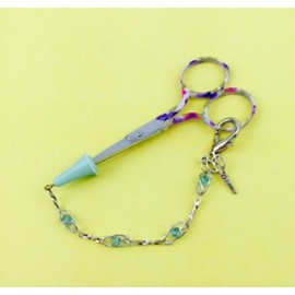 Embroidery Scissors with Floral Handle & Rubber Tip + Chain