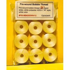 "Pre-wound Bobbin Thread  420D/1 White ""M"" Style"