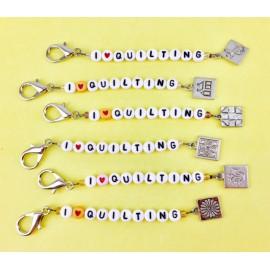 Scissors Fob - I Love Quilting (White)