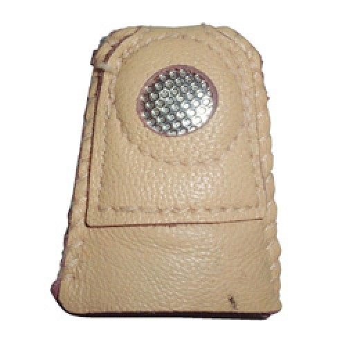 Leather Thimble with Metal Disc